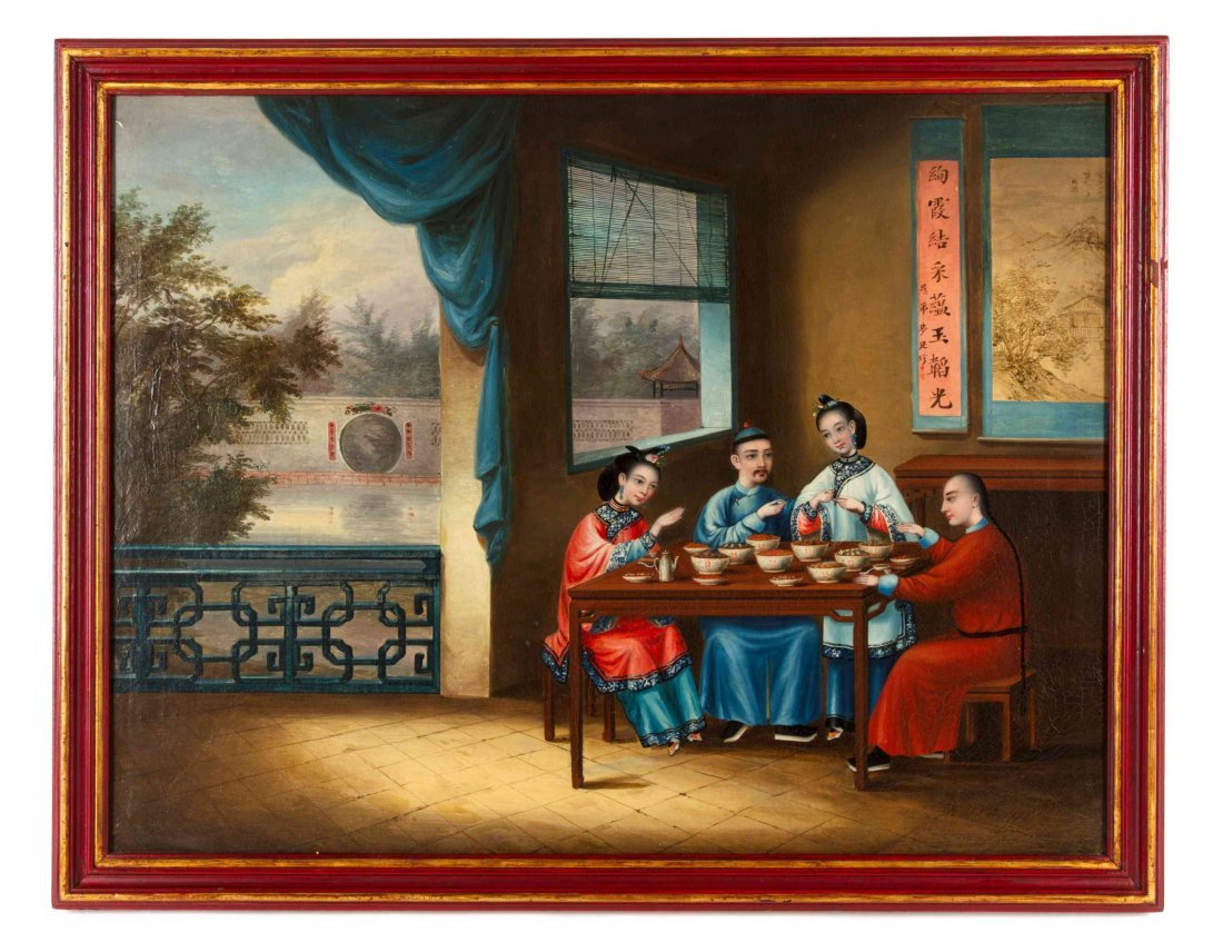 Six Chinese Export Painted Panels, CIRCA 1845,