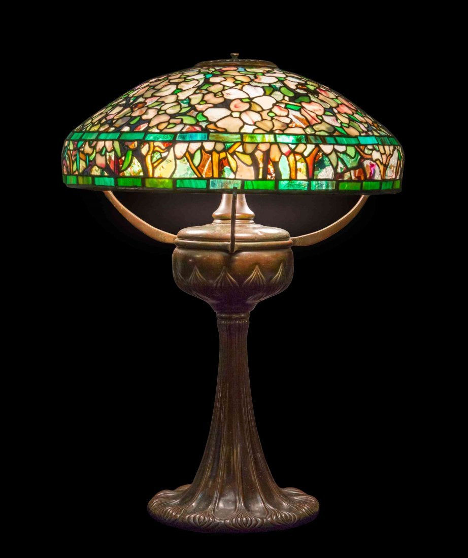 A Tiffany Studios Favrile Glass and Bronze Dogwood
