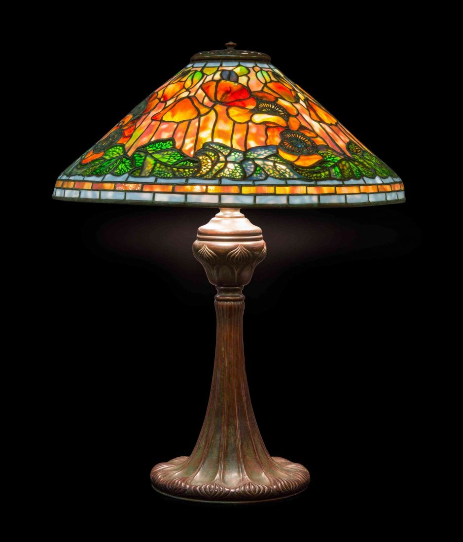 A Tiffany Studios Favrile Glass and Bronze Poppy Lamp,