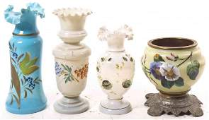 Four Victorian Glass Articles Height of tallest 11