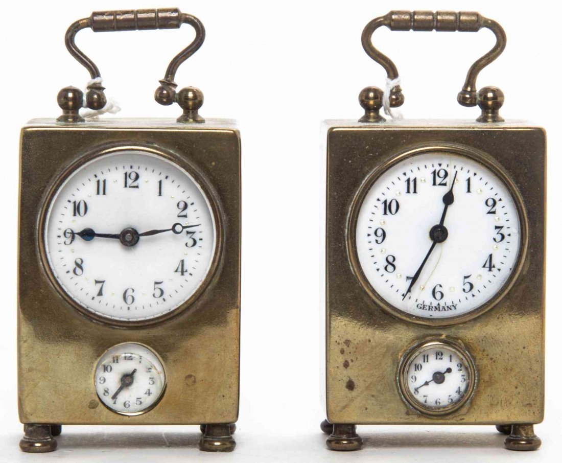 Two Diminutive Brass Carriage Clocks, Height over