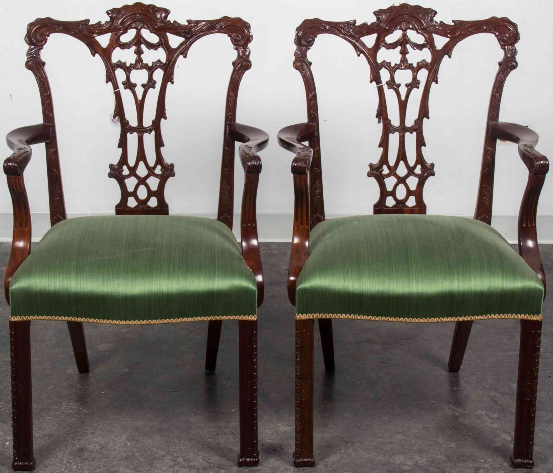 A Pair of Chippendale Style Mahogany Open Armchairs,