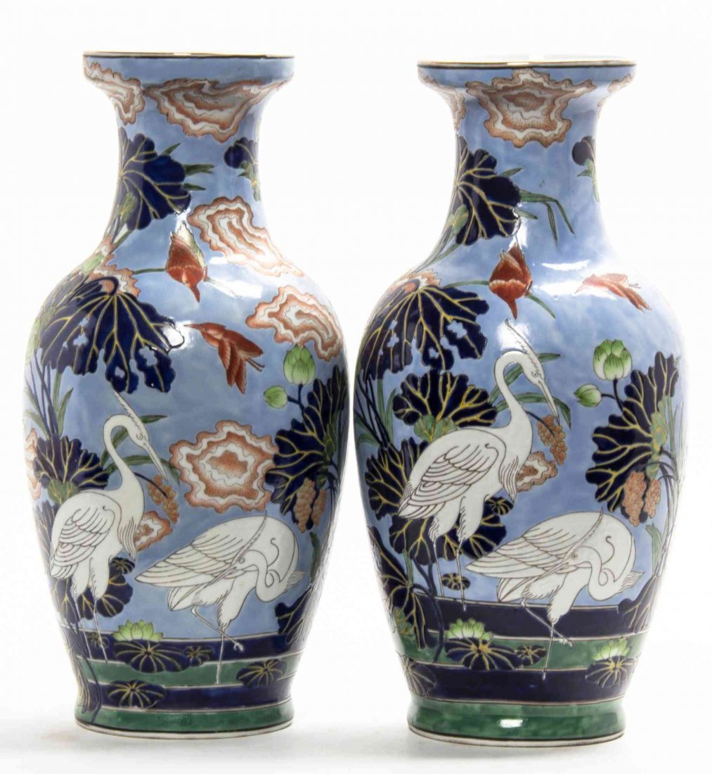 A Pair of Decorative Porcelain Baluster Vases, Height