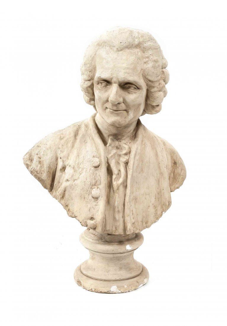 A Plaster Bust of Voltaire, Height 30 inches.