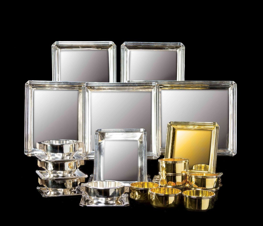 A Rare French Art Deco Silver and Silver-Gilt Dinner