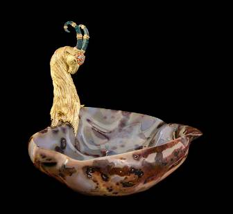 A French 18-Karat Gold and Jewel-Mounted Agate Large