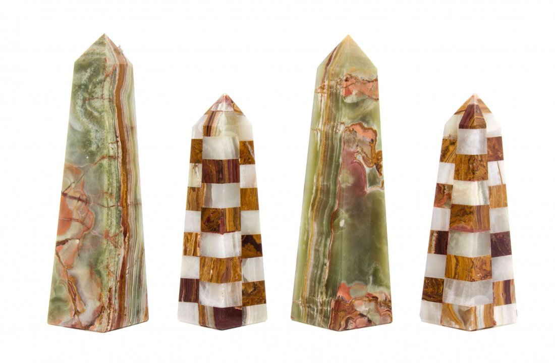 A Pair of Onyx Obelisks, Height of first 10 inches.