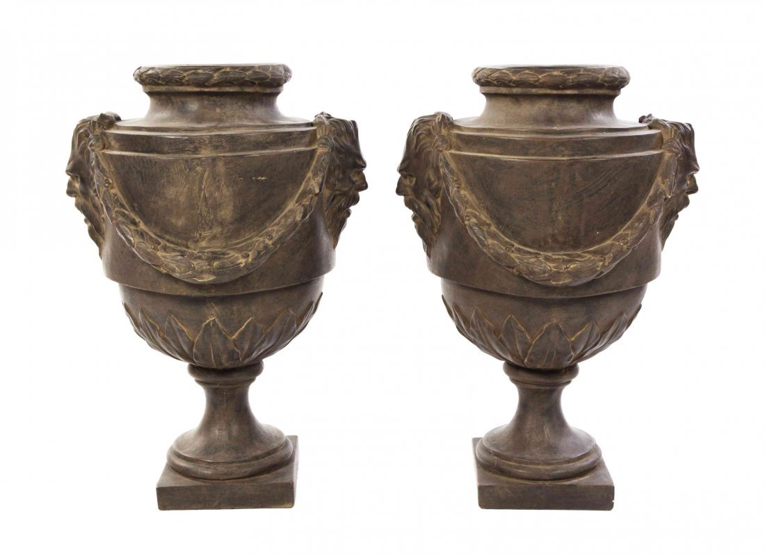 A Pair of Neoclassical Style Plaster Urns, Height 31