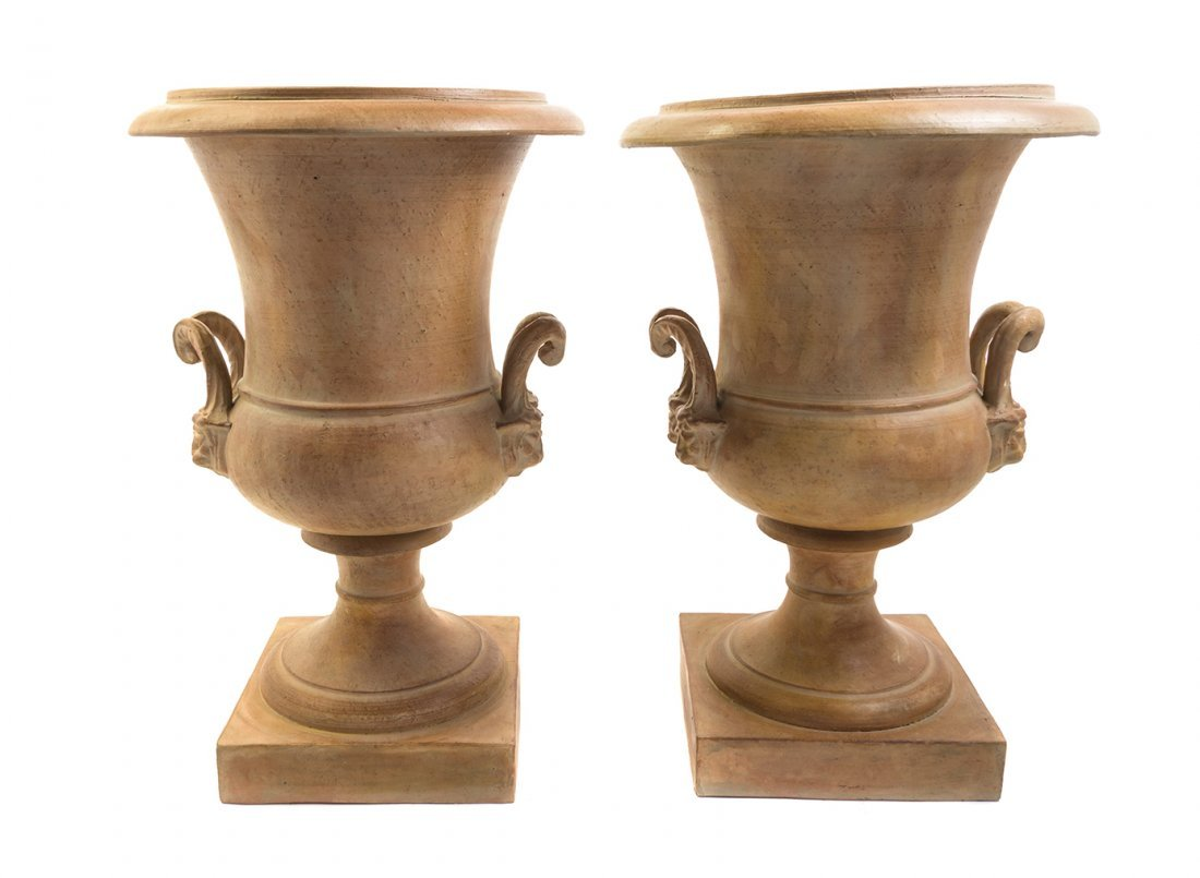 A Pair of Neoclassical Style Terra Cotta Urns, Height