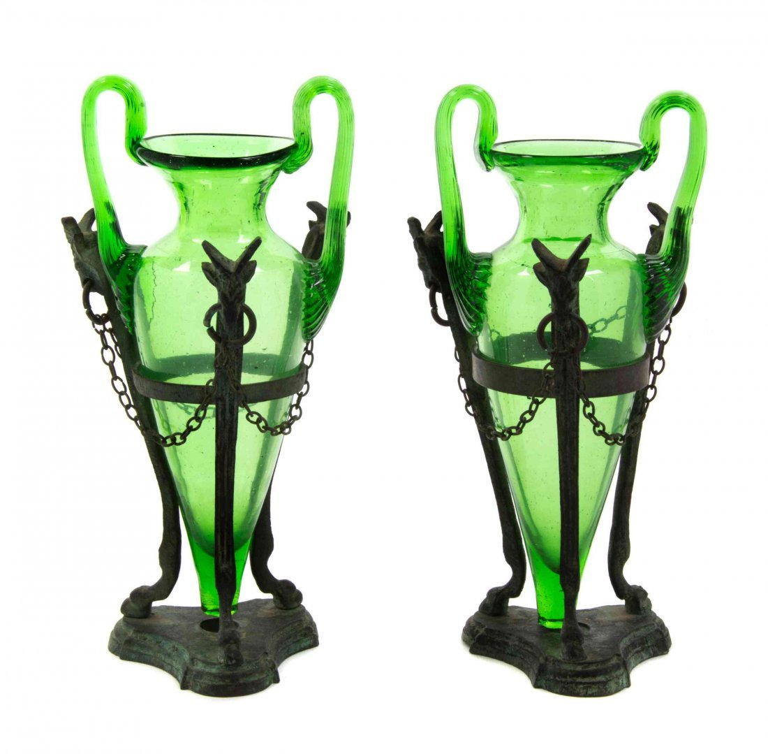 Two Neoclassical Style Blown Glass Amphorae, Height