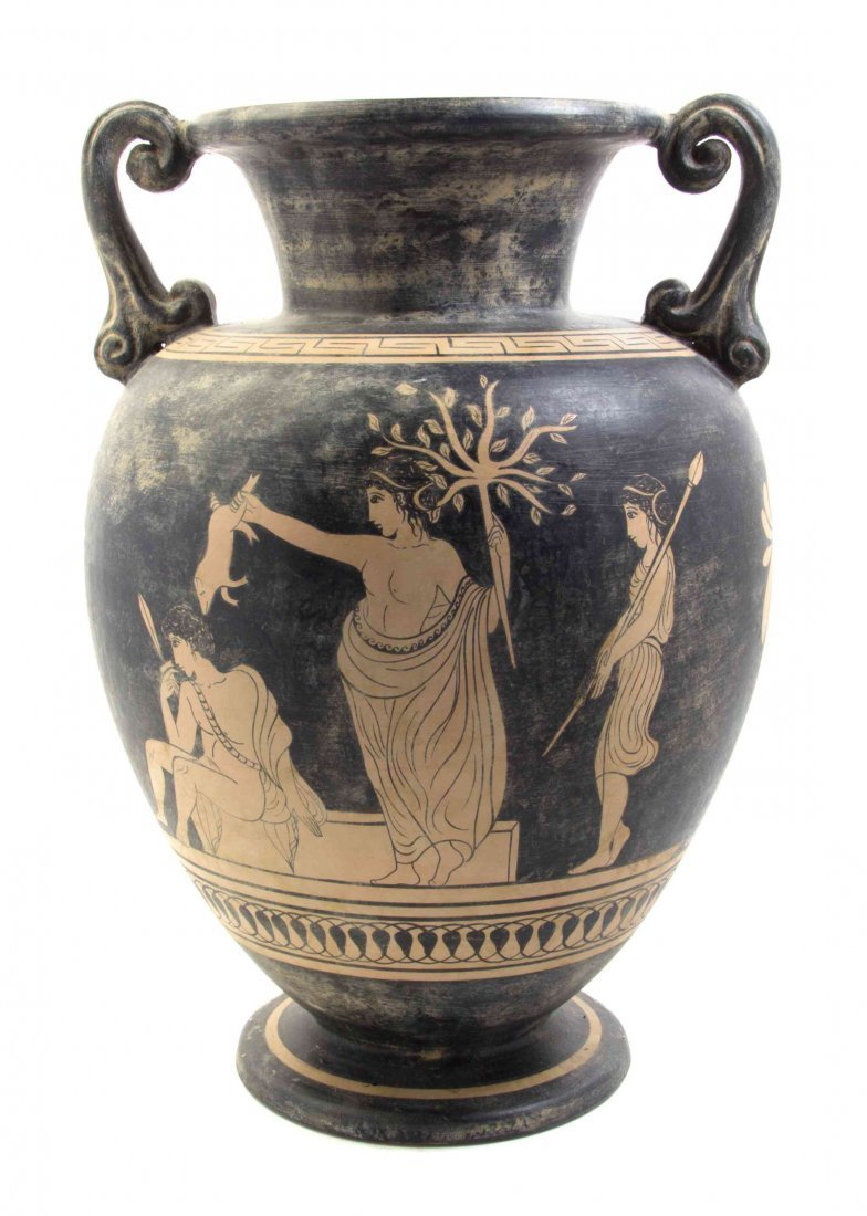 A Greek Pottery Vase, Height overall 48 1/2 inches.