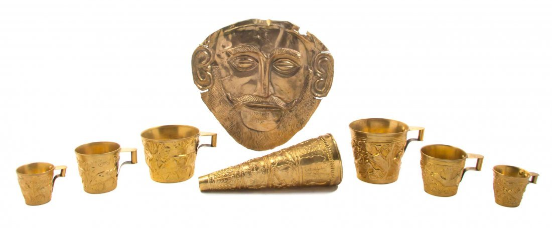 A Collection of Greek Gilt Metal Articles, Height of