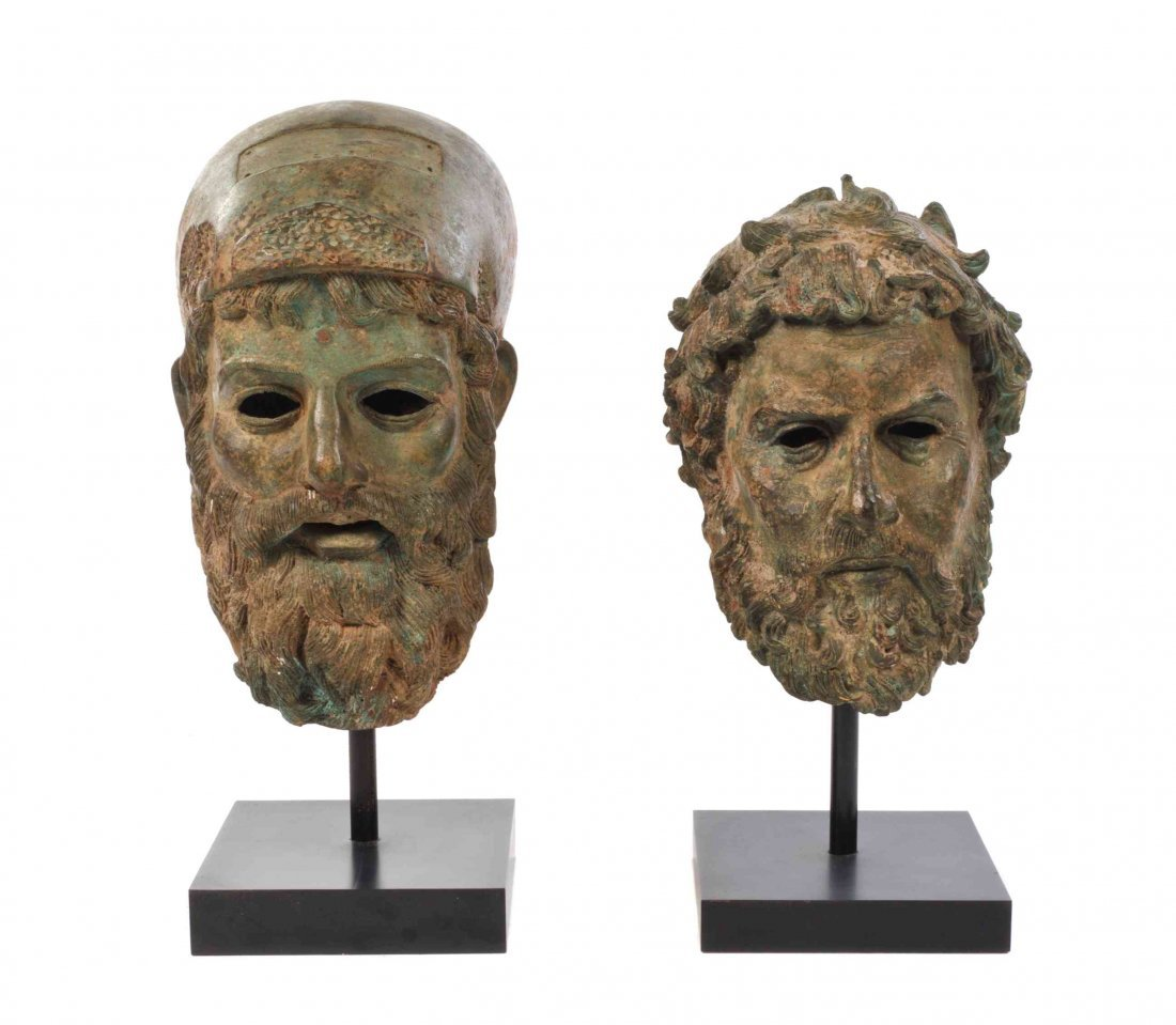Two Bronze Masks, Height of taller 16 inches.