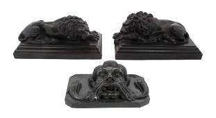 A Pair of Continental Bronze Animalier Figures Length