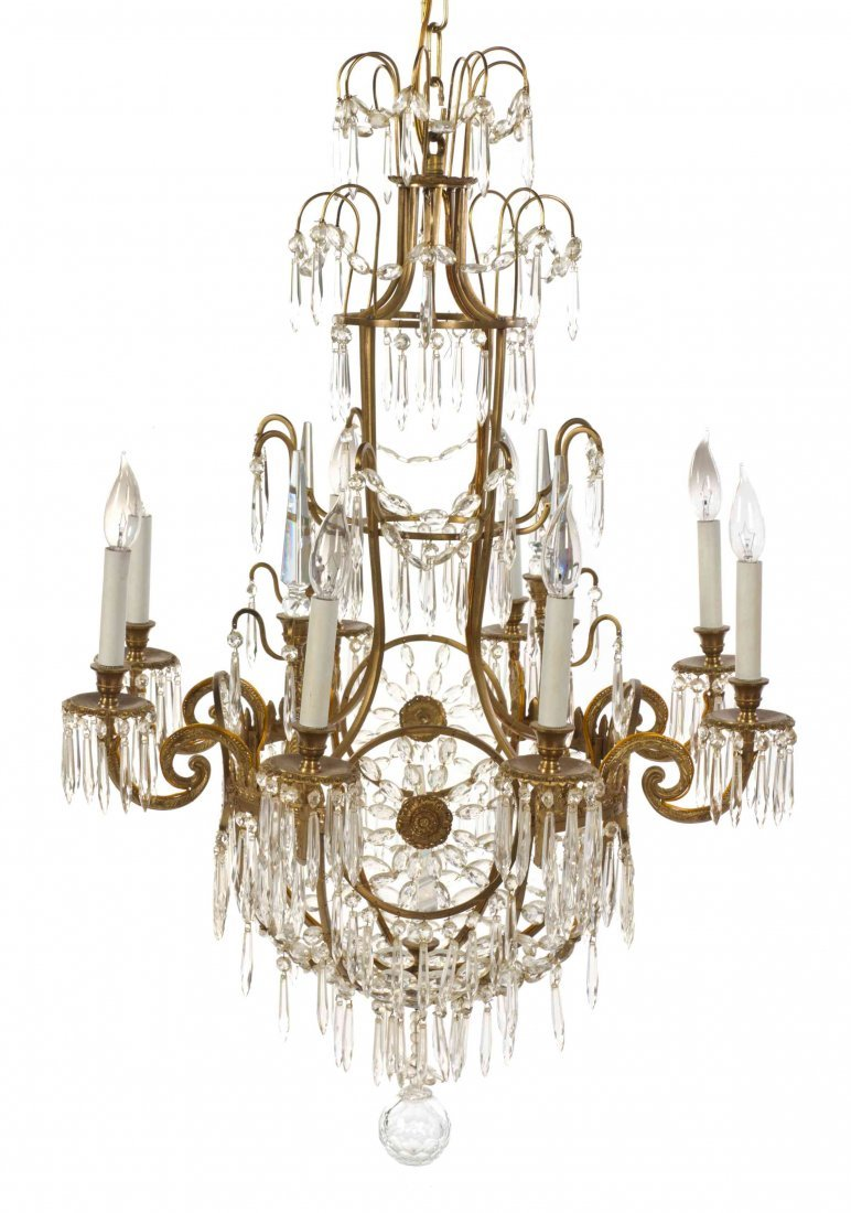 A Neoclassical Style Gilt Metal and Glass Six-Light