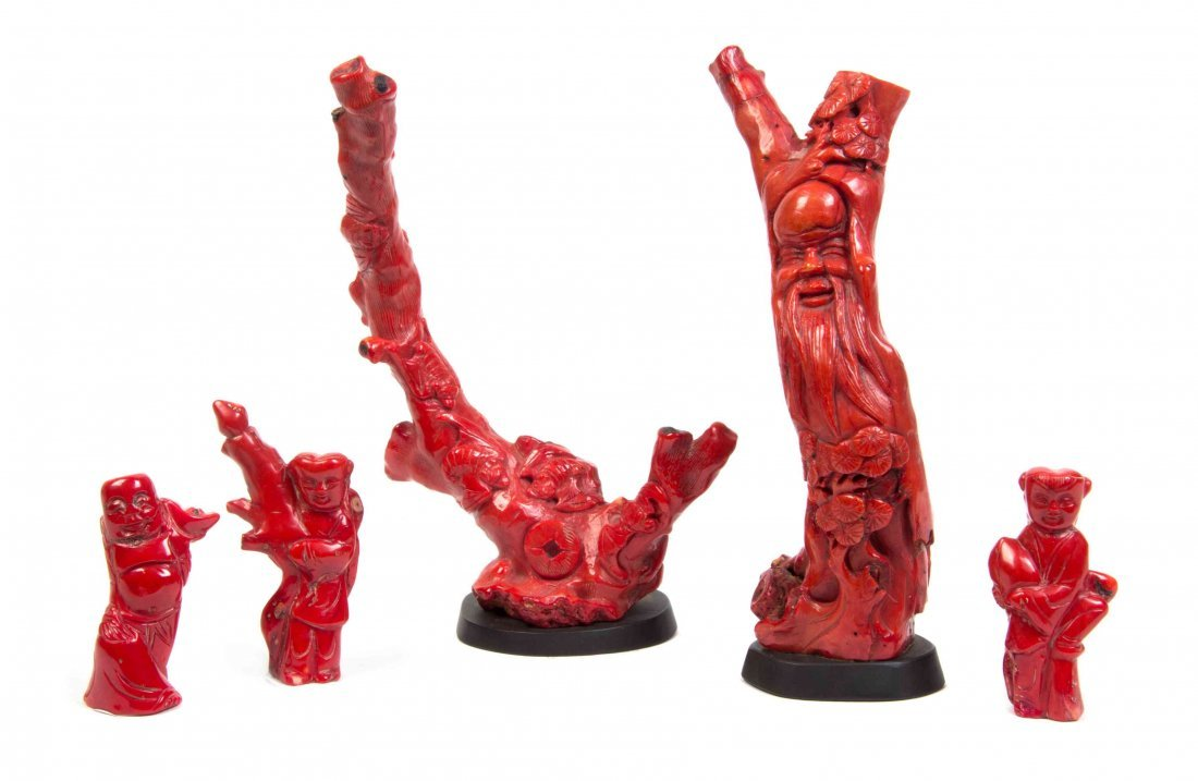 A Collection of Five Chinese Carved Coral Articles,