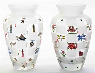 A Pair of Enameled Glass Vases, Height 8 1/2 inches.