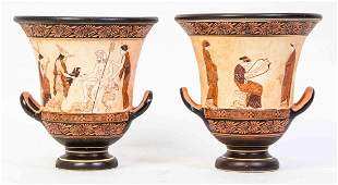 A Pair of Greek Calyx Kraters, Height 10 3/8 inches.