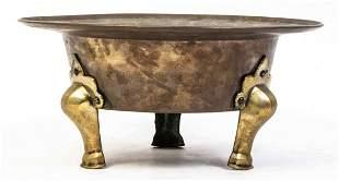 A Brass and Bronze Jardiniere, Diameter 16 1/8 inches.