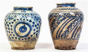 Two Persian Blue and White Vases, Height of taller 10