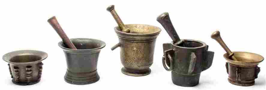 Five Bronze Mortar and Pestle Sets, 16TH CENTURY AND