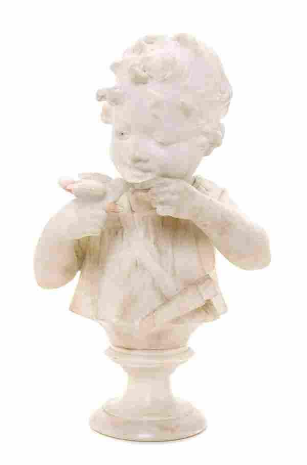 An Italian Alabaster Bust, 19TH CENTURY, Height 15