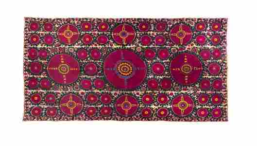 A Suzani Embroidered Panel,  LIKELY EARLY 20TH CENTURY,