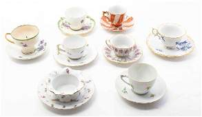 Two Meissen Porcelain Teacup and Saucer Sets Height of