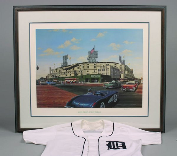 1002: William Moss Briggs Stadium lithograph, numbered