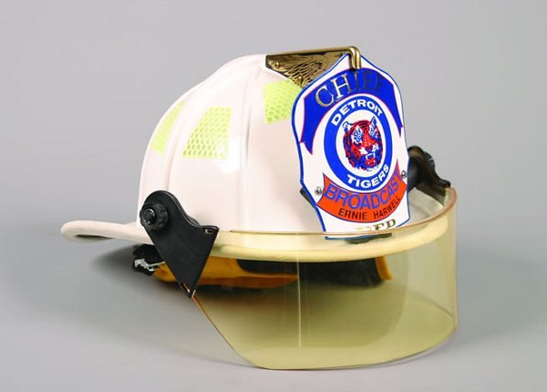 1015: A White Detroit Firefighter's Helmet, a gold eagl