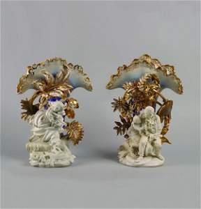 2: A Pair of Paris Porcelain Mantle Vases,