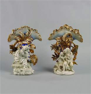 A Pair of Paris Porcelain Mantle Vases,