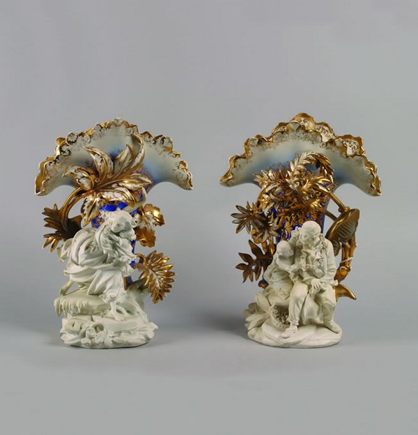 2: A Pair of Paris Porcelain Mantle Vases,