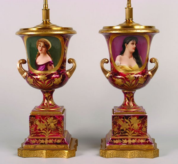 5: A Pair of Vienna Porcelain Urns,