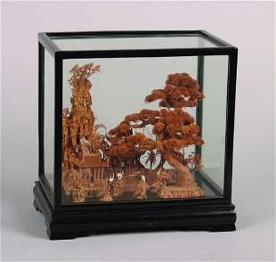 A Chinese Carved Cork Display Model of a Pagoda in