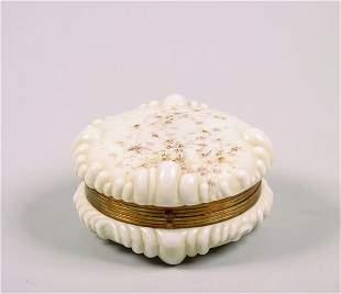 An Enamel Decorated Wavecrest Lidded Glass Box,