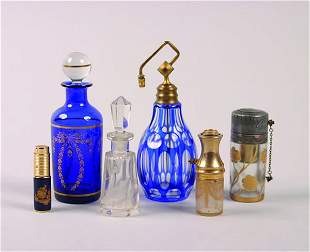 A Group of Continental Glass Perfume Bottles,