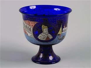 A Venetian Cobalt Glass Footed Bowl,