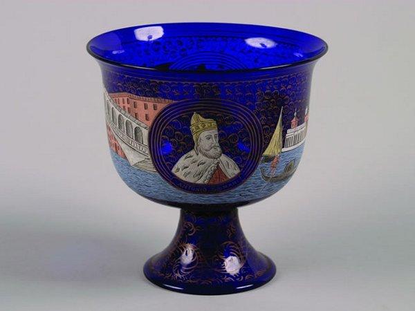 501: A Venetian Cobalt Glass Footed Bowl,