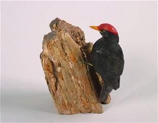 A German Obsidian Figure of a Woodpecker, Herbert