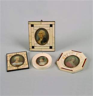 A Group of Portrait Miniatures on Ivory,