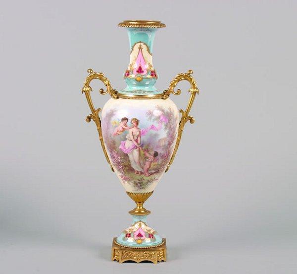 504: A Gilt Bronze Mounted Sevres Porcelain Urn,