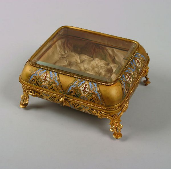 506: A French Gilt-Metal and Champleve Lidded Box,