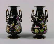 508 A Pair of Victorian Black Glass Vases