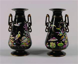 A Pair of Victorian Black Glass Vases,