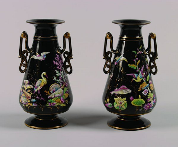 508: A Pair of Victorian Black Glass Vases,