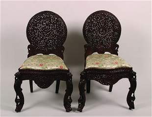 A Pair of Anglo-Ceylonese Side Chairs,