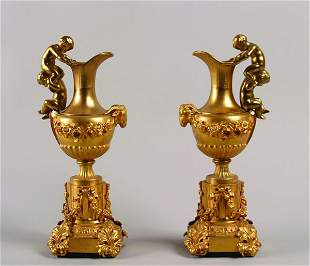 A Pair of French Gilt Bronze Ewers,