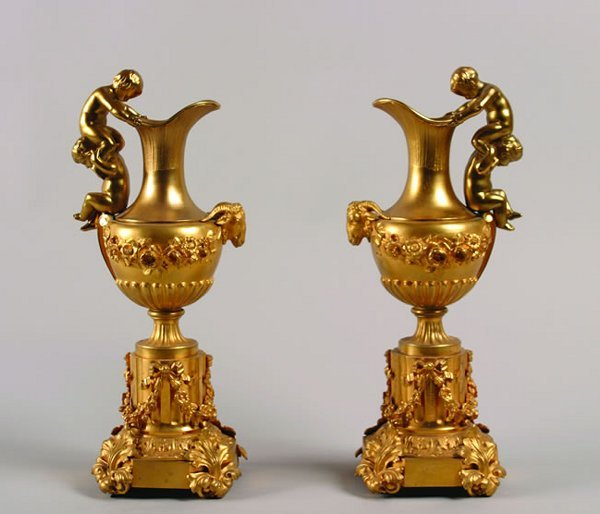 510: A Pair of French Gilt Bronze Ewers,