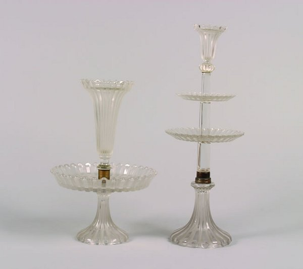 968: A Baccarat Molded Glass Two-Tier Centerpiece,